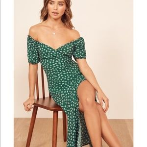 Reformation Pearl Off Shoulder Dress in Chive, 8